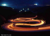 twisted highway at night