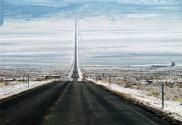 two lane road in winter