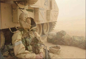 Soldier in dust storm