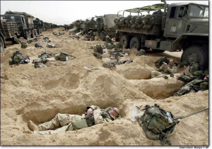 soldiers in dug outs