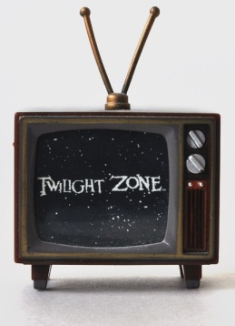 old tv with twilight zone image on screen